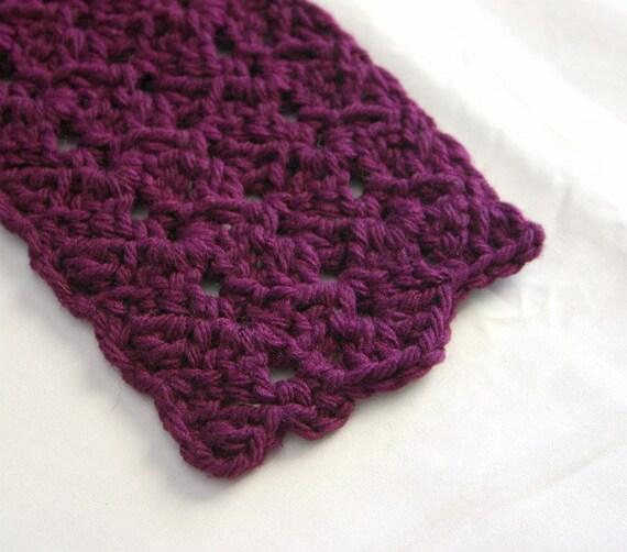 purple scarf plum crocheted long dark neckwarmer adult teen woman neckwear handmade