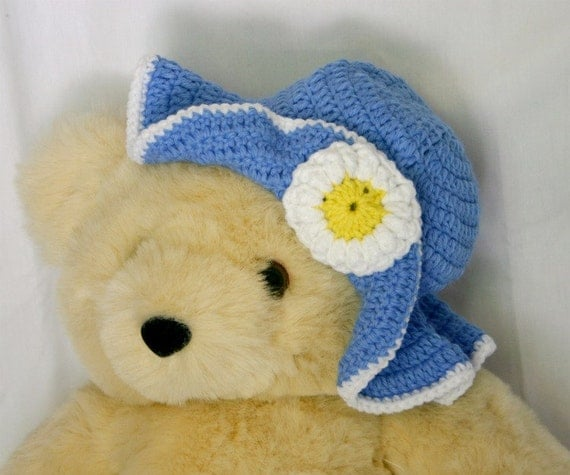 Blue toddler sunhat yellow white crochet flower 2-4 years spring decorative photography prop summer dress up washable