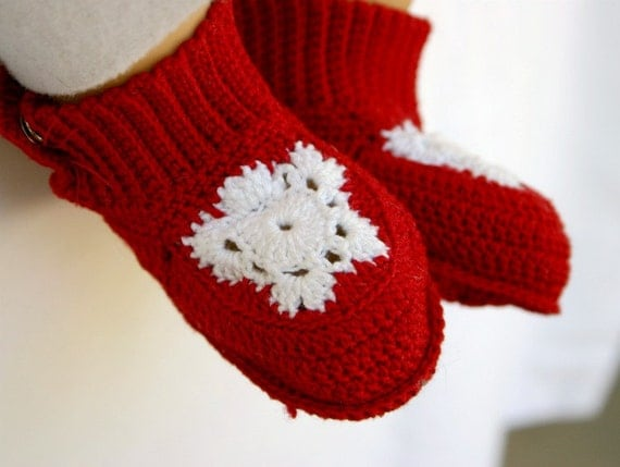 Baby booties red white crocheted snowflake newborn footwear cute infant shoes 0-3 month soft soled washable cotton crochet thread