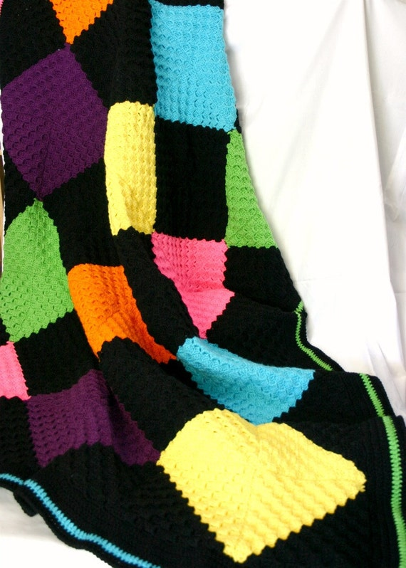 Diamonds throw afghan black yellow orange blue pink green purple bright crochet blanket teen adolescent geometric coverlet highlighter