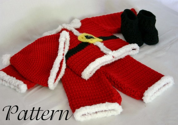 Infant Santa Suit Pdf Crochet Pattern 0 3 Month Size Newborn