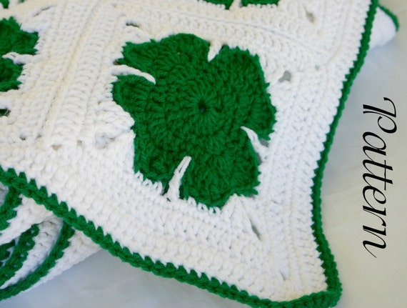 Shamrock afghan crochet PDF Pattern St. Patrick's Day holiday granny square throw March home decor coverlet winter spring