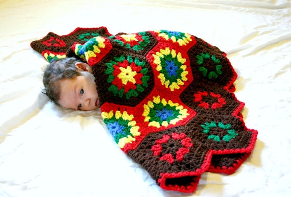 Boy hexagon blanket or rug red blue green yellow brown baby afghan throw home decor washable