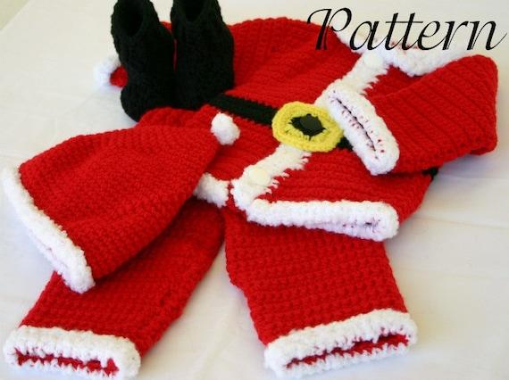 Baby Santa Suit Pdf Crochet Pattern 3 6 Month Size Newborn Boy