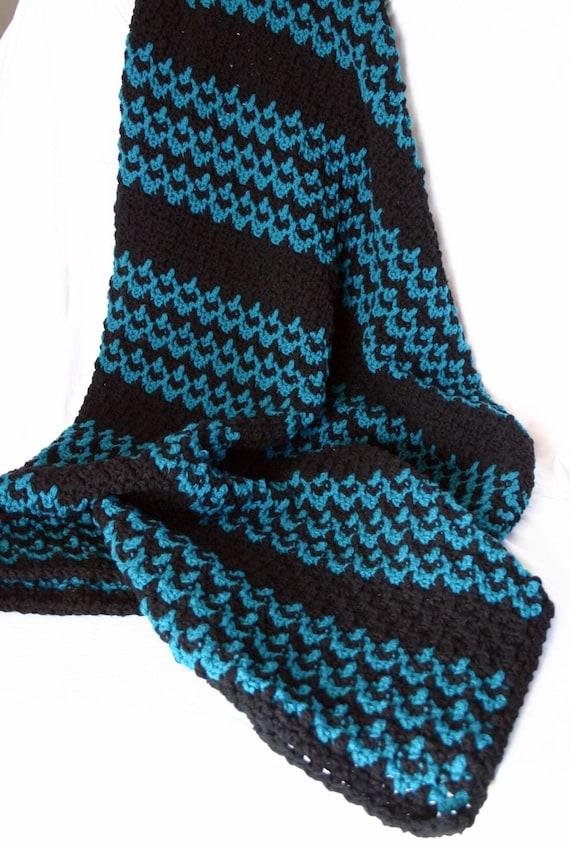 Crochet afghan blanket teal black double stranded dark blue green coverlet thick warm winter zig-zag striped geometric washable