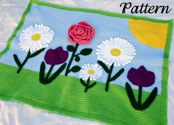Flowers afghan crochet PDF pattern throw blanket scene spring daisy tulip rose sun green pink purple blue white yellow pretty