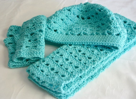 Crochet Patterns For Scarf And Hat : Hat scarf and fingerless gloves PDF Crochet PATTERN Adult