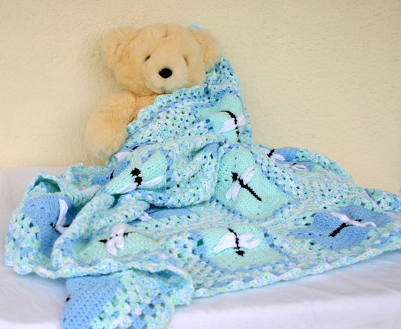 Baby afghan blanket dragonflies blue green white black variegated infant child granny square insect bug crib bedding