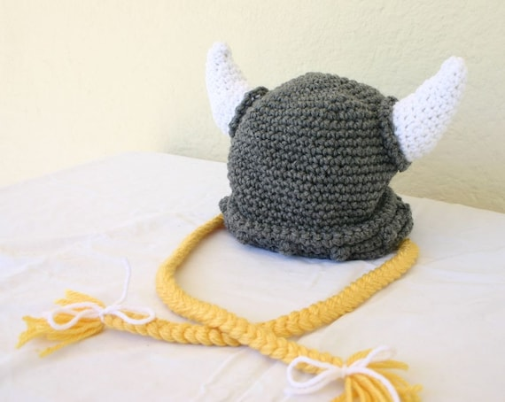 Viking toddler hat with ties 12-36 month gray white yellow beanie photography prop cap horns braided Norse costume grey hair soft helmet