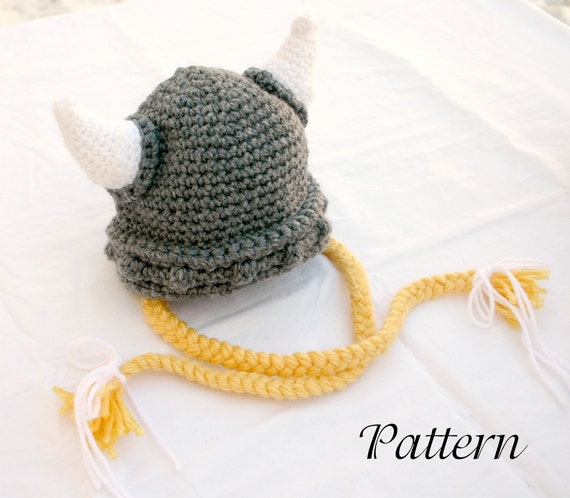 Free Pattern Crochet Viking Hat : Viking baby hat PDF crochet PATTERN 0-6 month gray white