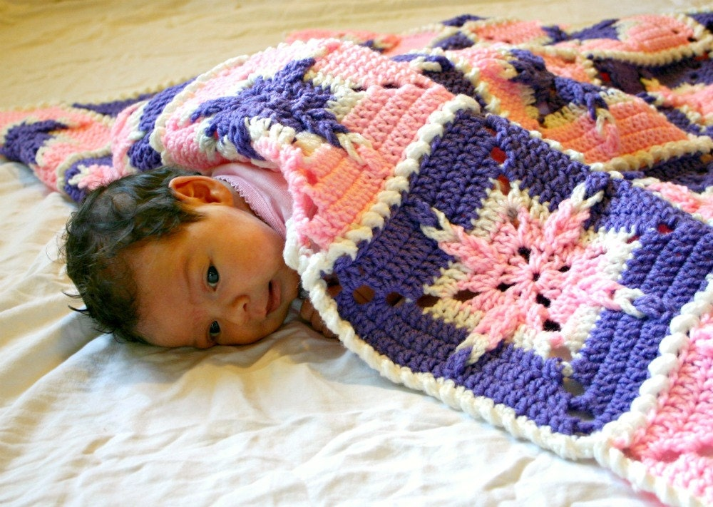 Baby Girl Afghan Granny Square Blanket Pink Purple White