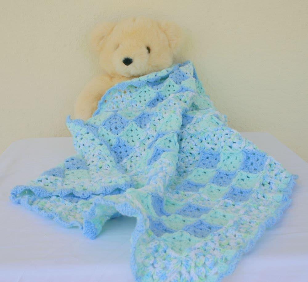 Baby Boy Blanket Crocheted Afghan Blue Green White Variegated