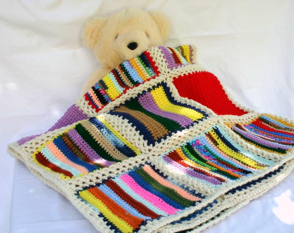 Scrap yarn crochet afghan blanket aran border colorful squares