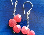 Ruby Grapefruit Slices Earrings in Sterling Silver