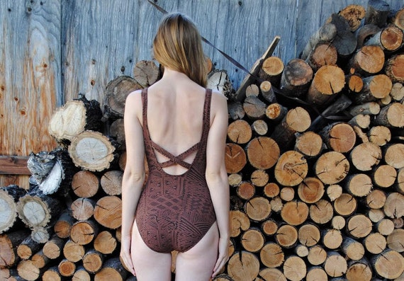 S A L E 80's Native Backless One-Piece Swimsuit