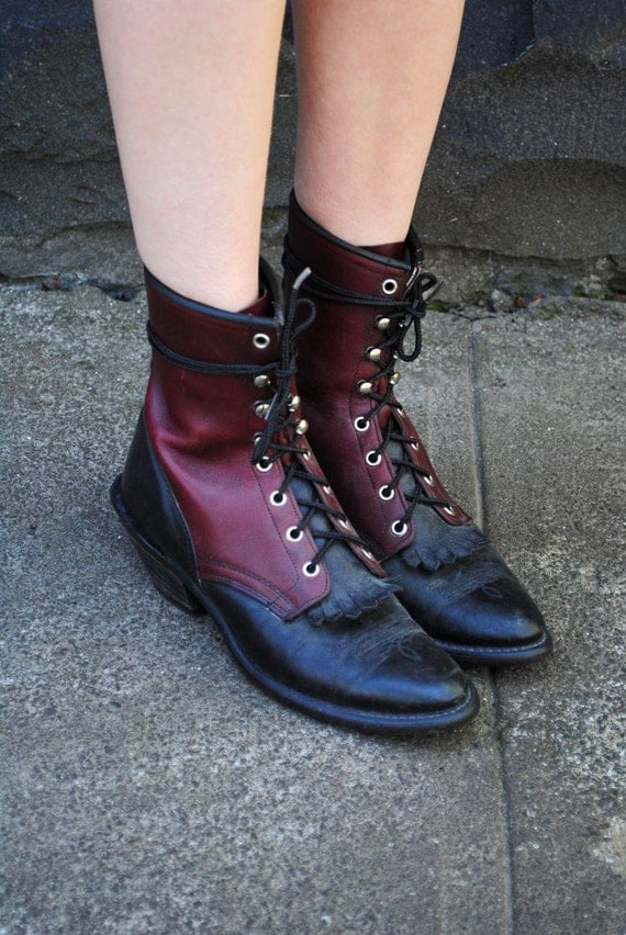60's Victorian Country Burgundy Leather Ankle Boots, US 8.5