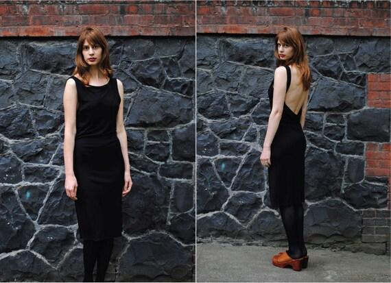 S A L E////80's Black HUGO BUSCATI Backless Form Fitting Dress