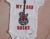 LAST ONE My Dad Rocks Appliqued Short Sleeve Onesie - Pregnancy Announcement - New Daddy - Rocker Daddy