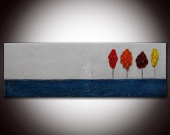 Abstract Landscape Painting,Blue landscape,red trees,Textured Trees, Custom Large Textured Sculpted Original Painting 36x12, Made to order.