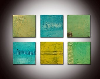 Little jewels - Custom 6 panels - Textured Sculpted Painting Heavy Textured with Certificat of Authenticity