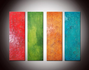 30x40 Textured Sculpted Painting, Heavy Textured, Multi panels painting, large long panels, colorful abstract painting,geometrical painting