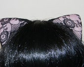 Lacy Magnetic/Attachable/Detachable/Bendable Tachi Ears - Black and Pink