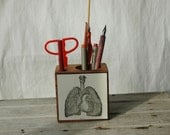Anatomical Heart and other Bits - Small Reclaimed Wood Desk Caddy