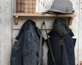 Coat Hanger and Shelf Made of Reclaimed Wood and Hooks