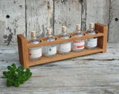 Apothecary Spice/Tea Rack: Reclaimed hard wood, drug store labels.