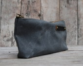Waxed Canvas Pouch: Slate by Peg and Awl