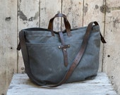 Large Waxed Canvas Tote in Slate, Waxed Canvas Crossbody Bag, Waxed Canvas Diaper Bag, Waxed Canvas Handbag, Canvas Purse, Waxed Canvas Bag