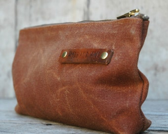 4fdded5545 Medium Waxed Canvas Pouch in Spice
