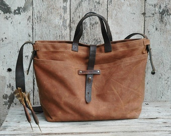Waxed Canvas Tote Bag Spice, Waxed Canvas Crossbody Bag, Waxed Canvas Bag, Waxed Canvas Diaper Bag, Waxed Canvas Purse, Waxed Canvas Handbag