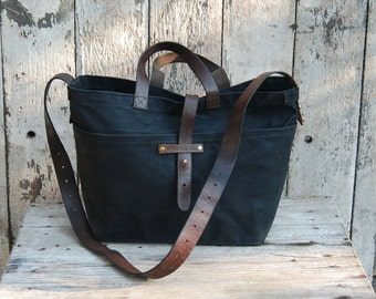 Waxed Canvas Tote: Coal by Peg and Awl