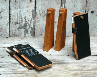 Trio of Chalkboard Tablets and Stands, Kitchen Chalkboard, Chalkboard Sign, Reclaimed Wood, Office Desk Accessories, Peg and Awl