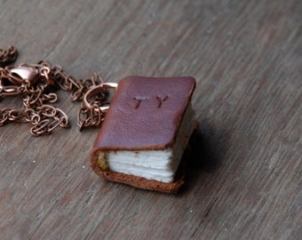 Miniature Leather Book Necklace, Customize, Personalize, Monogram, Initial, Name, Mini Leather Charm, Pendant, Book Lover Gift, Reader Gift