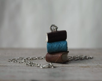 Stacks Book Necklace: Winter Trio by Peg and Awl