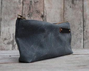 Medium Waxed Canvas Pouch, Pencil Case, Cosmetic Case, Makeup Bag, Zipper Pouch, Canvas Pouch, Bags and Purses. Slate, Peg and Awl.