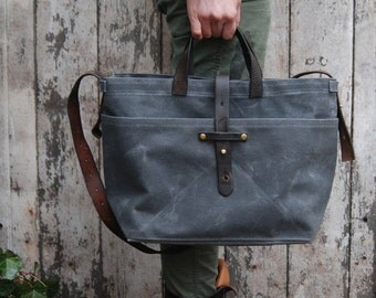 Waxed Canvas Tote Bag in Slate, Waxed Canvas Crossbody Bag, Waxed Canvas Diaper Bag, Waxed Canvas Handbag, Waxed Canvas Purse, Crossbody
