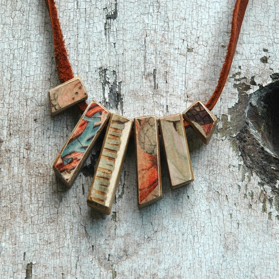 Anatomical Necklace - Reclaimed Oak and Leather with 1800s Chromolithograph Decoupage