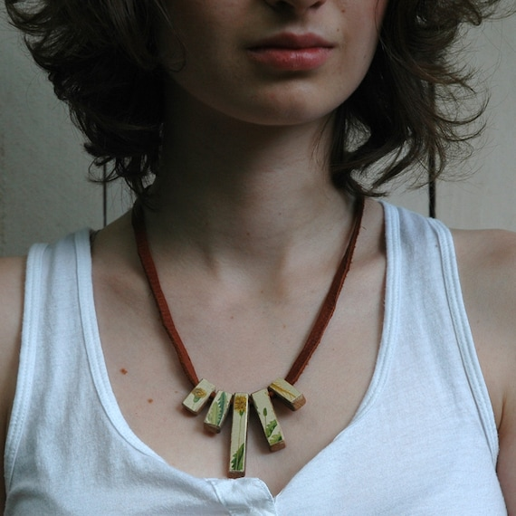 Dandelion Neckalce - Reclaimed Oak and Leather with 1800s Chromolithograph Decoupage