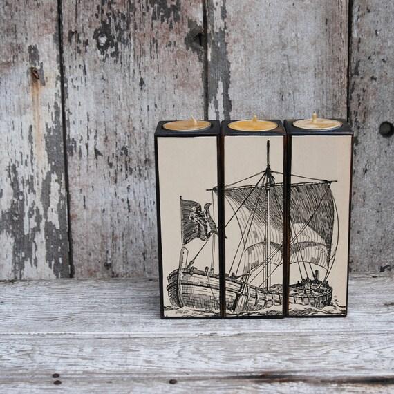 Candleblock Set: Black Milkpaint Ship