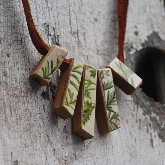 Green and Pink Botanical Necklace: Reclaimed Oak and Leather, Chromolithograoh from 1800s.
