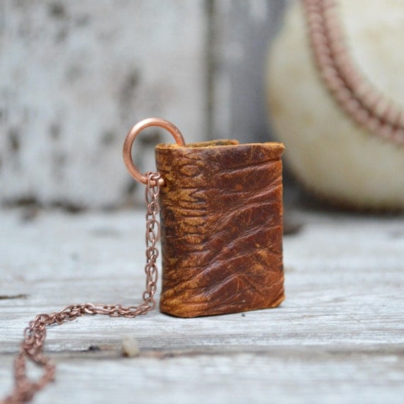 Book Necklace: Antique baseball mitt, one of a kind, worn out brown.
