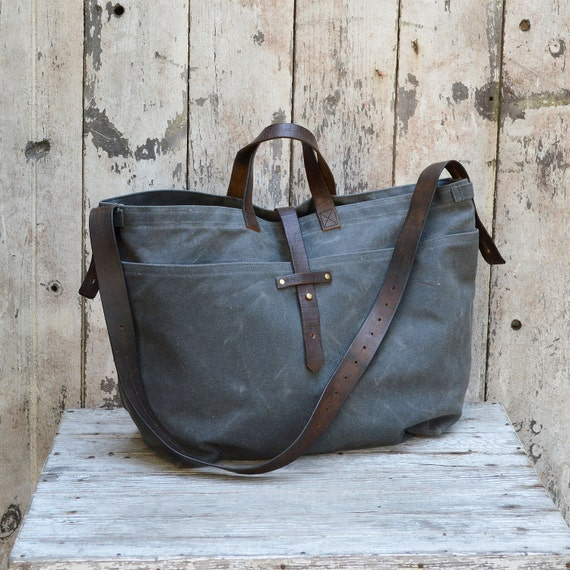 Large Waxed Canvas Tote: Slate by Peg and Awl