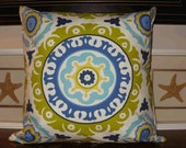 Sale ~ Decoraive Pillow Cover:  Suzani  Lime and Indigo 20 X 20 Cotton Accent Throw Pillow Cover