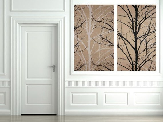 Special Listing for Erinsbusiness: Two Decorator Willow Tree Textile Art Fabric Wall Hangings each 40 X 24 in White and Black