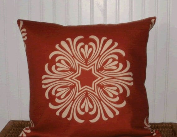 Decorative Pillow Cover: Large Breckenridge Medallion Designer Fabric 20 X 20 Accent Throw Pillow Cover in Terracotta