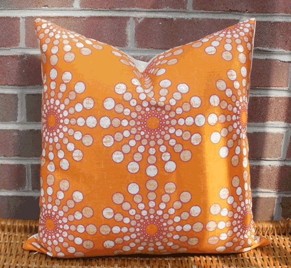 SALE ~ Decorative Pillow Cover: Designer 16 X 16 Accent Throw Pillow Cover in Tangerine