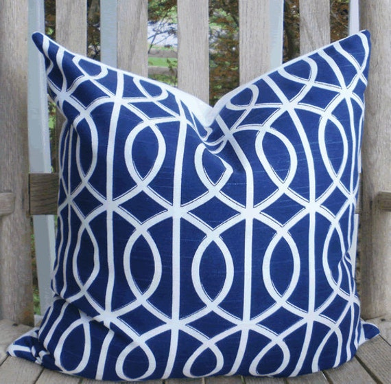 Decorative Pillow Cover: Dwell Studio Designer 18 X 18 Accent Throw Pillow Cover in Royal Navy and White